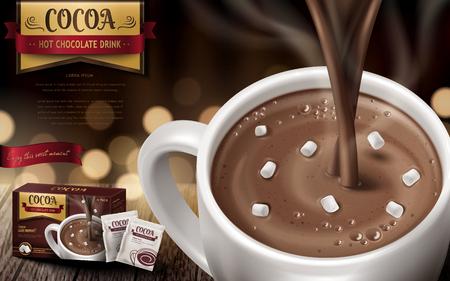 ホット チョコレート飲む広告、小さなマシュマロと背景をぼかし、3 d の図