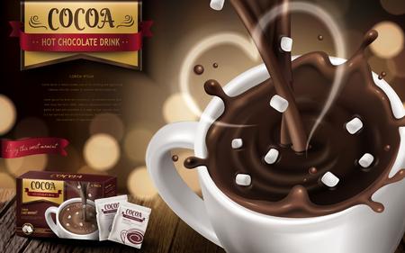 핫 초콜릿 음료 광고, 작은 마쉬 멜 로우, 심장 모양의 연기와 배경을 흐리게, 3d 일러스트 일러스트