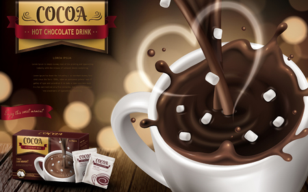 Hot chocolate drink advertisement, with small marshmallows, heart shaped smoke and blurred background, 3d illustration