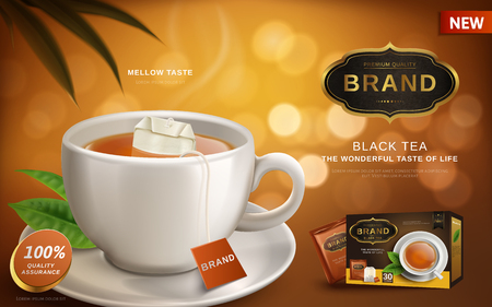 Black tea advertisement, with hot tea and tea bag in white cup, blur background 3d illustration