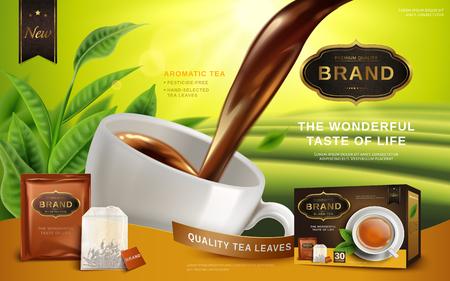 Black Tea Werbung, mit Tee Blätter und Paket-Box, 3d illustration