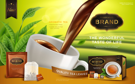 Black tea advertisement, with tea leaves and package box, 3d illustration
