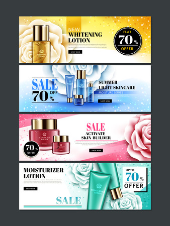 four different colored cosmetic themed web banner designs with products, rose flowers and glitters, 3d illustration
