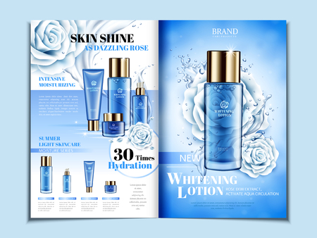Blue cosmetic themed bi fold brochure design with roses, can also be used on catalogs or magazines, 3d illustration. Vectores