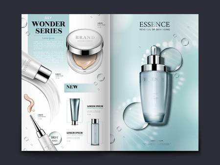 Light blue cosmetic brochure design with helical structure and water drops, can also be used on catalogs or magazines, 3d illustration.