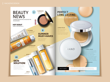 Bi fold brochure featuring cosmetic and sun proof products, can be used on magazine or catalogs, 3d illustration.
