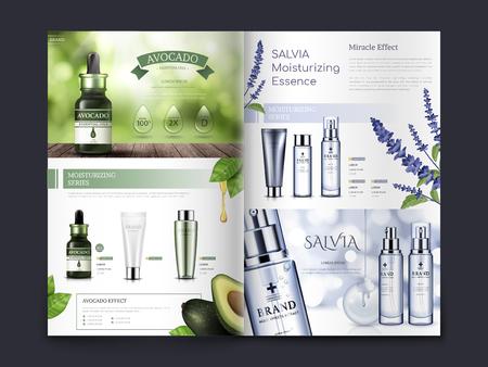il disegno dell'opuscolo cosmetico a tema avocado e salvia, può essere utilizzato anche su cataloghi o riviste, illustrazione 3d Vettoriali