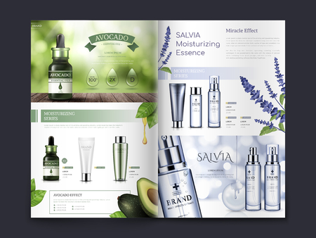 avocado and salvia themed cosmetic brochure design, can also be used on catalogs or magazines, 3d illustration