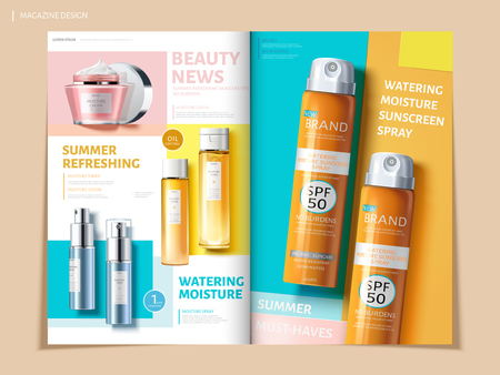 El folleto colorido de Bi fold que ofrece productos del cuidado de la piel y del sol, se puede utilizar en la revista o los catálogos, ilustración 3d