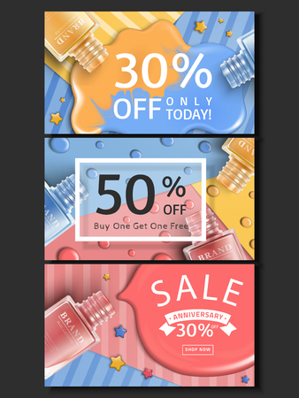 ネイル ネイル ラッカー ボトル、ウェブサイト広告使用、3 d イラストレーションとラッカーのバナー デザイン