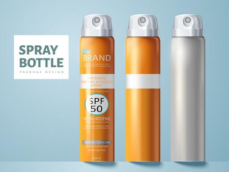 3 スプレー ボトル、2 つ空白、日焼け止めスプレー パッケージ デザインを使用、分離の明るい青の背景 3 d イラストの 1 つ。  イラスト・ベクター素材