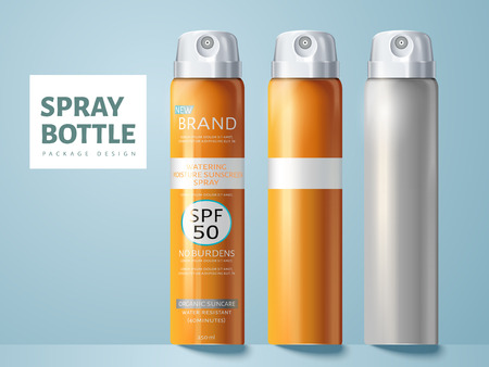 Three spray bottles, two blank and one for sunscreen spray package design use, isolated light blue background 3d illustration. Illustration