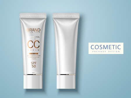 Two plastic tubes, one blank and another one for cosmetic cream package design use, isolated light blue background 3d illustration.