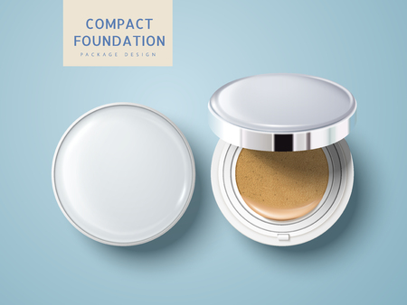 Two blank cosmetic foundation cases, one half open, can be used as package design elements, isolated light blue background 3d illustration.