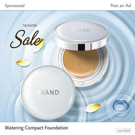 Cosmetic ad suitable for social media websites, two foundation cases and yellow petals on water ripples, 3d illustration.