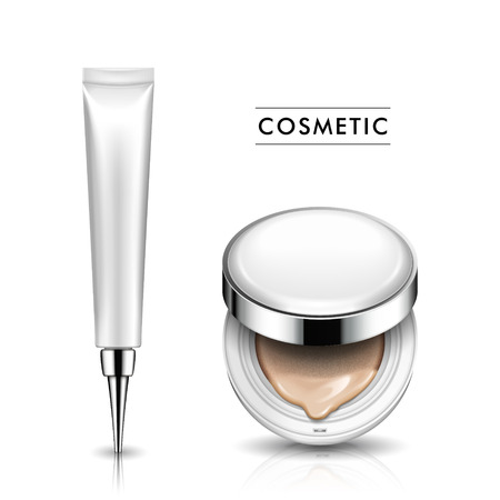Half open foundation case and cosmetic tube with sharp head part, both white, isolated white background 3d illustration.