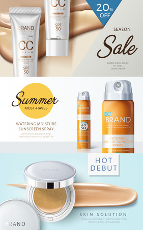 Three different cosmetic themed web banner designs with product pictures, 3d illustration. Illustration
