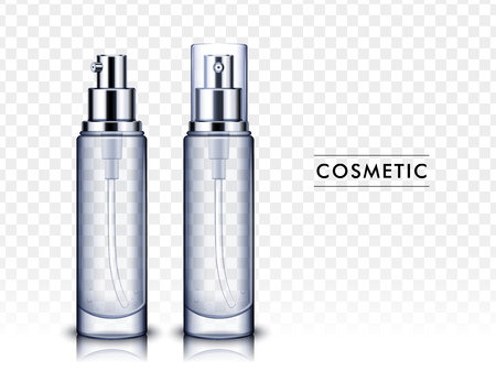 Two transparent cosmetic bottles, one left tilt and another with plastic cap, isolated white background 3d illustration.