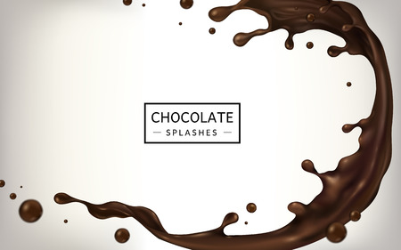 Chocolate splashes for design uses isolated on white background in 3d illustration