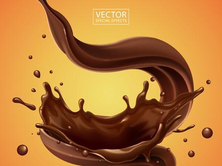 Salpicos e turbilhão de líquido de chocolate para usos de design isolados no fundo quente na ilustração 3d