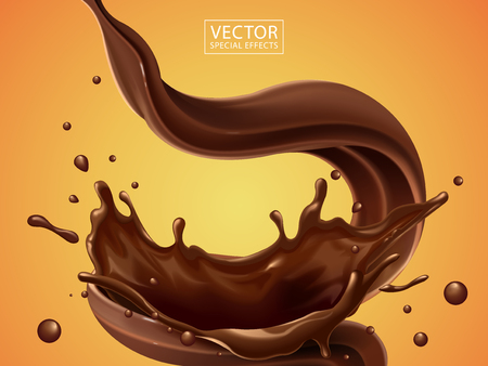 Splashing and whirl chocolate liquid for design uses isolated on warm background in 3d illustration Vettoriali