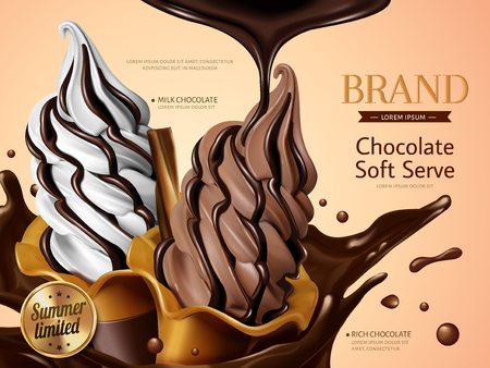 Milk and chocolate soft serve ice cream ads, realistic soft serve with splashing premium chocolate liquid for summer in 3d illustration