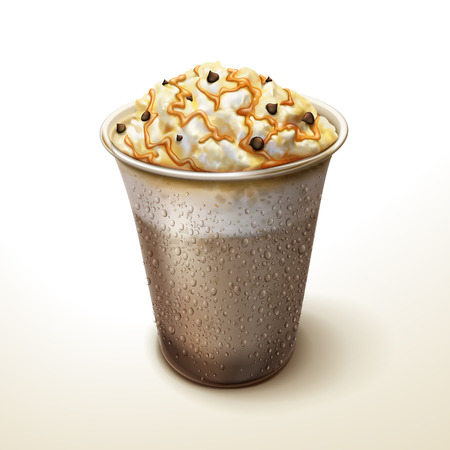 Caramel mocha cocoa smoothie element, freeze iced drink with cream, chocolate beans and caramel topping, 3d illustration for design uses