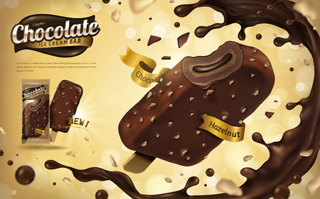 Chocolate hazelnut ice cream bar ads, tasty chocolate sauce splashes and nuts flying in the air, 3d illustration for summer Çizim