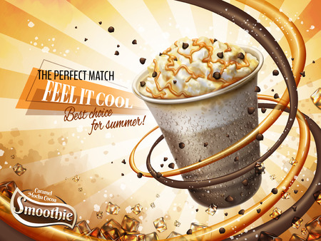 Caramel mocha cocoa smoothie ads, freeze iced drink with cream, chocolate beans and caramel topping, 3d illustration