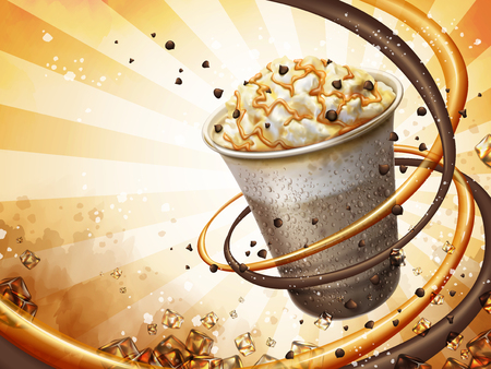 Caramel mocha cocoa smoothie background, freeze iced drink with cream, chocolate beans and caramel topping, 3d illustration