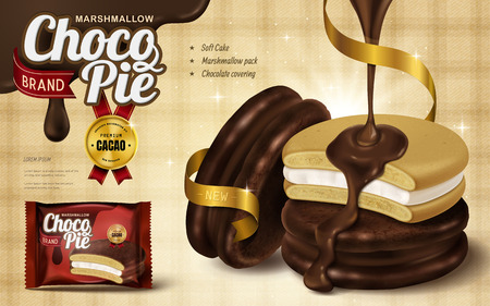 Marshmallow chocolate pie ad, premium chocolate sauce dripped from top and covering soft cake in 3d illustration