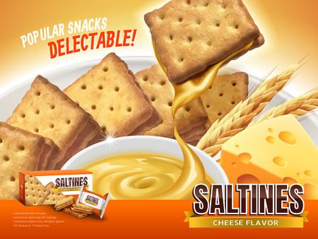 Kaasvullende saltines advertentie, verrukkelijke crackers met kaassaus droop van het, close-upblik van 3d illustratie