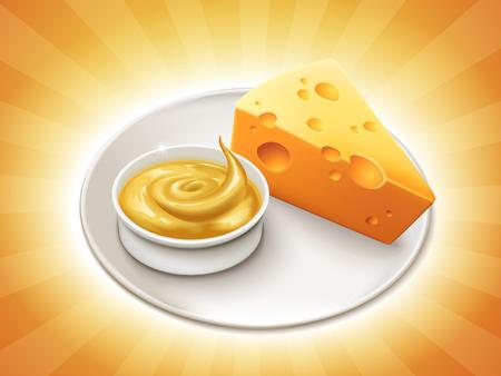 Stuk kaas met een kom kaassaus die op gestreepte achtergrond in 3d illustratie wordt geïsoleerd