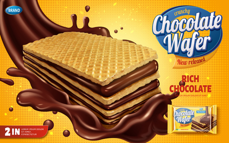 Chocolate wafer ads, crunchy cookies with chocolate syrup splashing in the air isolated on yellow halftone background in 3d illustration