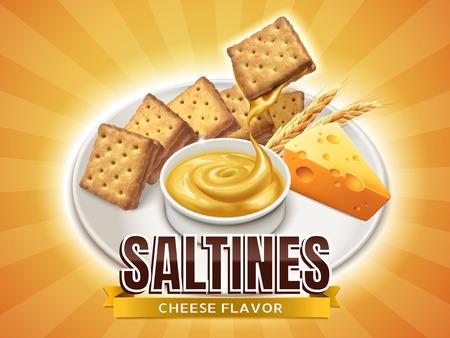 Salchichas de sabor de queso, galletas deliciosas con salsa de queso gotas de ella, un plato de aperitivos apetitosos