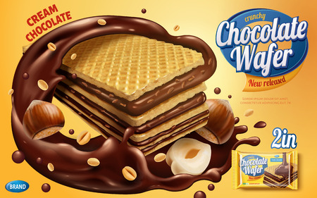 Chocolate wafer ads, crunchy cookies with chocolate syrup and nuts isolated on yellow background in 3d illustration Vectores
