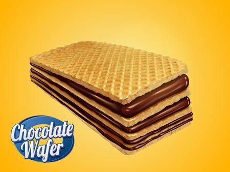 チョコレートのウェーハ設計要素、チョコレート シロップの 3 d 図で黄色の背景に分離されたカリカリ クッキー