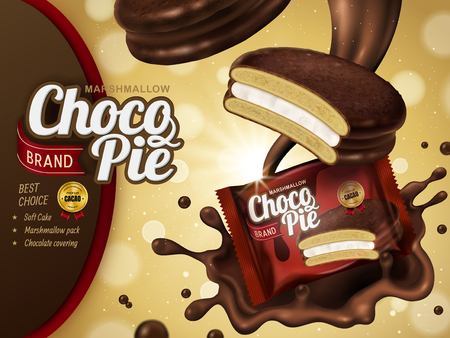 Marshmallow chocolate pie ad, splashing premium chocolate sauce and soft cake with package design isolated on glitter bokeh background in 3d illustration