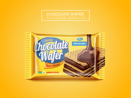 Chocolate wafer package design, delicious cookie package design isolated on yellow background in 3d illustration Illustration