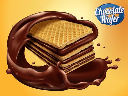 チョコレートのウェーハ設計要素は、カリカリのクッキー チョコレート シロップは、それは 3 d 図で黄色の背景に分離された回転