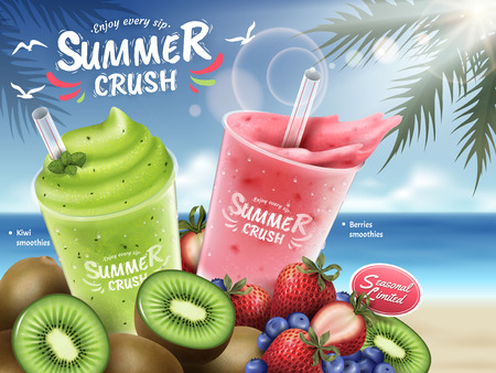 Fruit smoothies ads, kiwi and berries smoothie cup and bunch of fruits isolated on bokeh beach background in 3d illustration