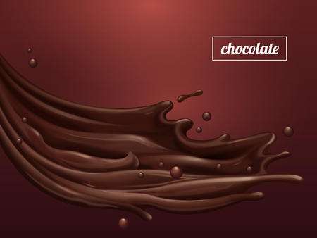 Premium chocolate sauce, flowing sweet sauce with smooth texture isolated on scarlet background, 3d illustration