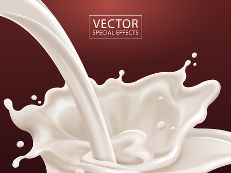 Flowing milk liquid, white liquid dripping from top isolated on scarlet background in 3d illustration