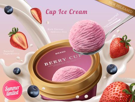 Anuncios de copa de helado de Berry, una cucharada de helado de fresa premium con leche y frutas que fluyen en la ilustración 3d