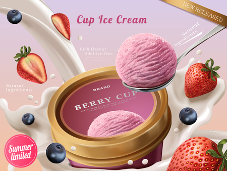 Berry ice cream cup ads, a scoop of premium strawberry ice cream with flowing milk and fruits in 3d illustration
