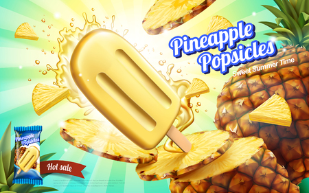 Pineapple ice cream ads, summer chill fruit ice pop with splashing juice and flesh isolated on striped background in 3d illustration
