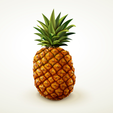 Realistic pineapple for design uses in 3d illustration isolated on beige background Фото со стока - 82761971