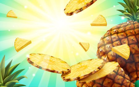 Pineapple background design, summer style fruit wallpaper in 3d illustration, flying pineapple flesh and striped pattern