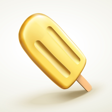 Isolated yellow ice cream, pineapple or banana flavour for design uses in 3d illustration