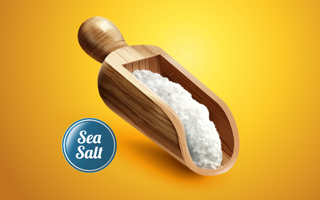 木製コンテナーで、3 d の図の黄色の背景に分離された海の塩のスクープ